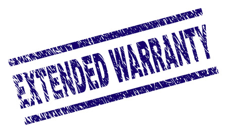 EXTENDED WARRANTY seal stamp with scratced style. Blue vector rubber print of EXTENDED WARRANTY text with retro texture. Text title is placed between parallel lines.