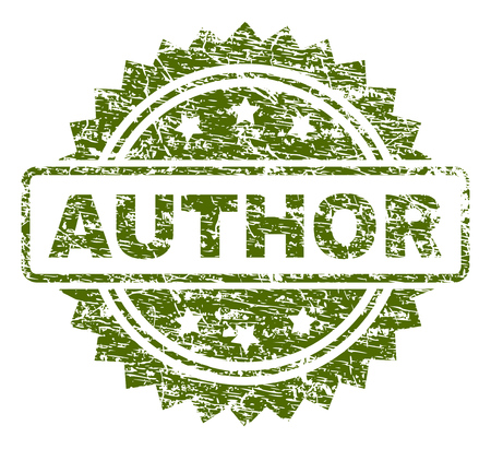 AUTHOR stamp seal watermark with rubber print style. Green vector rubber print of AUTHOR tag with dirty texture.