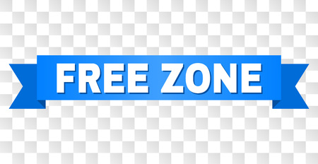 FREE ZONE text on a ribbon. Designed with white caption and blue stripe. Vector banner with FREE ZONE tag on a transparent background.