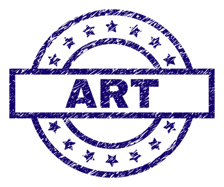 ART seal print with distress texture. Designed with rectangle, circles and stars. Blue vector rubber print of ART label with corroded texture. Illusztráció