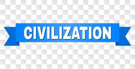 CIVILIZATION text on a ribbon. Designed with white title and blue stripe. Vector banner with CIVILIZATION tag on a transparent background. Illusztráció