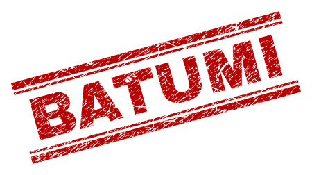 BATUMI seal print with corroded texture. Red vector rubber print of BATUMI label with retro texture. Text label is placed between double parallel lines.