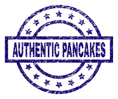 AUTHENTIC PANCAKES seal stamp with grunge texture. Designed with rectangle, circles and stars. Blue vector rubber print of AUTHENTIC PANCAKES title with grunge texture. Иллюстрация