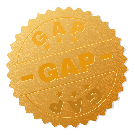 GAP gold stamp award. Vector golden award with GAP label. Text labels are placed between parallel lines and on circle. Golden area has metallic effect.