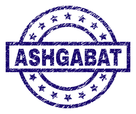ASHGABAT seal print with dirty texture. Designed with rectangle, circles and stars. Blue vector rubber print of ASHGABAT text with dirty texture. Illustration