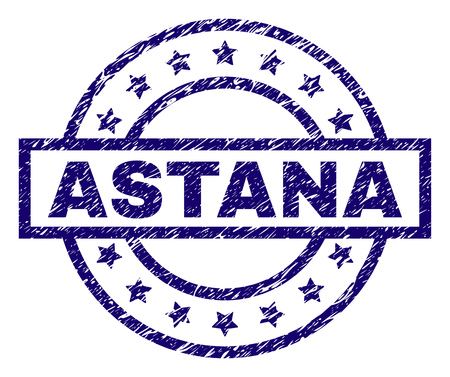 ASTANA seal stamp with grunge texture. Designed with rectangle, circles and stars. Blue vector rubber print of ASTANA title with unclean texture.