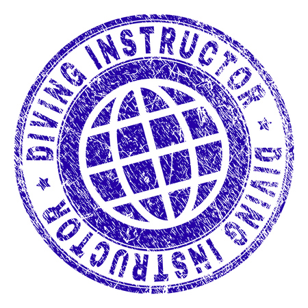 DIVING INSTRUCTOR stamp imprint with grunge style. Blue vector rubber seal imprint of DIVING INSTRUCTOR label with grunge texture. Seal has words placed by circle and planet symbol.