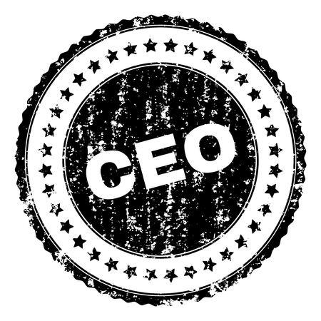 CEO seal print with distress texture. Black vector rubber print of CEO caption with retro texture. Rubber seal imitation has circle shape and contains stars.
