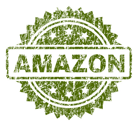 AMAZON stamp seal watermark with rubber print style. Green vector rubber print of AMAZON tag with grunge texture.