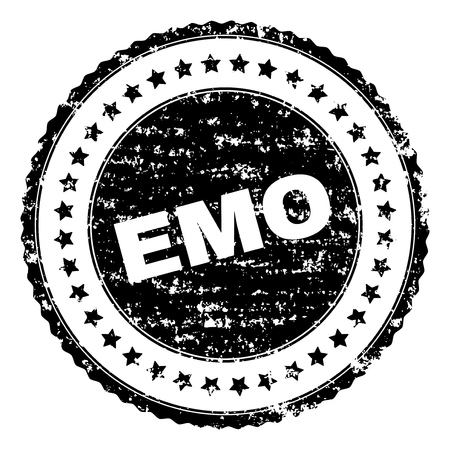 EMO seal print with corroded texture. Black vector rubber print of EMO label with dirty texture. Rubber seal imitation has circle shape and contains stars. Ilustração