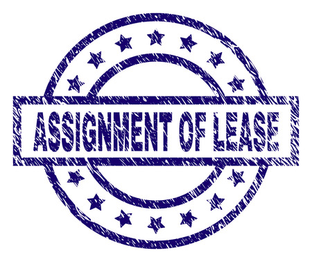 ASSIGNMENT OF LEASE seal print with grunge texture. Designed with rectangle, circles and stars. Blue vector rubber print of ASSIGNMENT OF LEASE caption with dust texture. Stock Illustratie