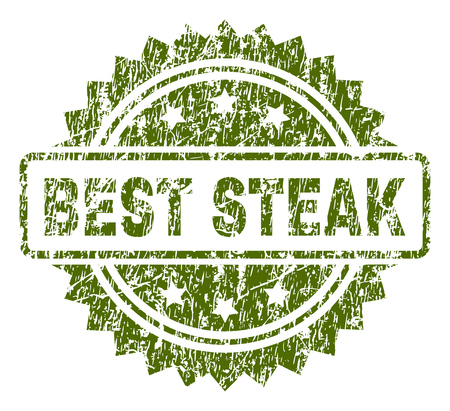 BEST STEAK stamp seal watermark with rubber print style. Green vector rubber print of BEST STEAK label with scratched texture.