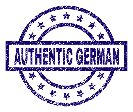 AUTHENTIC GERMAN seal imprint with dirty effect. Designed with rectangle, circles and stars. Blue vector rubber print of AUTHENTIC GERMAN text with dirty texture. Standard-Bild - 105896495