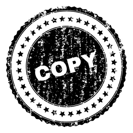 COPY seal print with distress texture. Black vector rubber print of COPY caption with corroded texture. Rubber seal imitation has circle shape and contains stars. Illustration