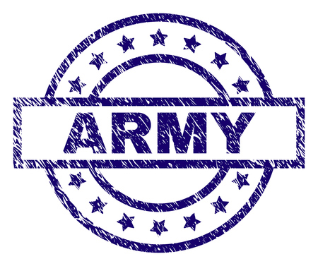 ARMY seal print with dirty texture. Designed with rectangle, circles and stars. Blue vector rubber print of ARMY text with grunge texture.