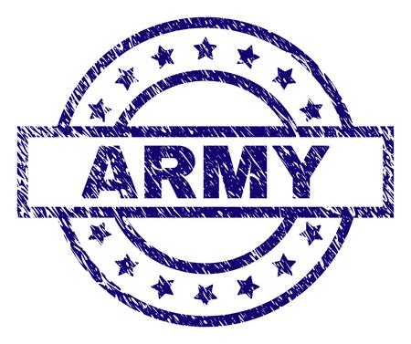 Estampado del sello ARMY con textura sucia. Diseñado con rectángulo, círculos y estrellas. Impresión de goma azul vector de texto EJÉRCITO con textura grunge.