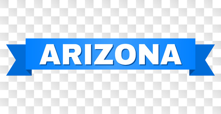 ARIZONA text on a ribbon. Designed with white caption and blue stripe. Vector banner with ARIZONA tag on a transparent background.  イラスト・ベクター素材