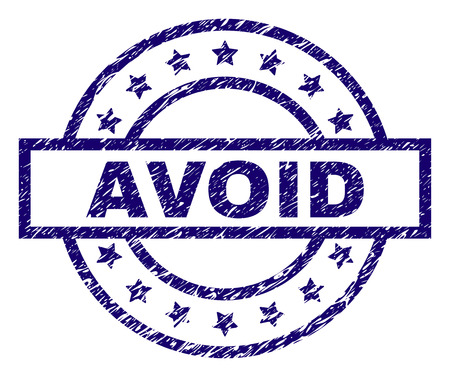 AVOID seal watermark with grunge texture. Designed with rectangle, circles and stars. Blue vector rubber print of AVOID title with grunge texture.