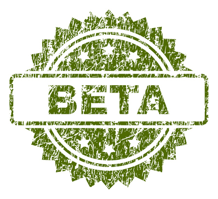 BETA stamp seal watermark with rubber print style. Green vector rubber print of BETA caption with dust texture.