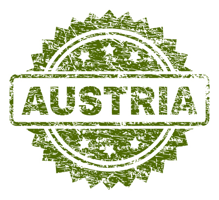 AUSTRIA stamp seal watermark with rubber print style. Green vector rubber print of AUSTRIA caption with corroded texture. Illustration