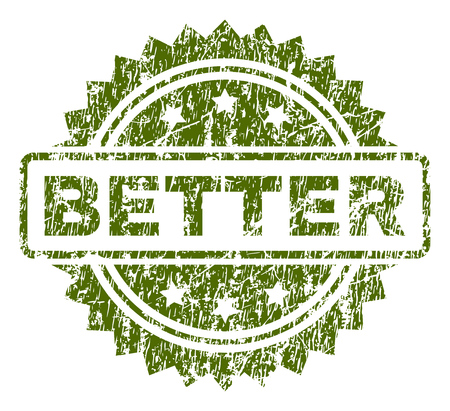 BETTER stamp seal watermark with rubber print style. Green vector rubber print of BETTER text with scratched texture.