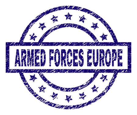 ARMED FORCES EUROPE seal print with dirty style. Designed with rectangle, circles and stars. Blue vector rubber print of ARMED FORCES EUROPE label with dirty texture. Banque d'images