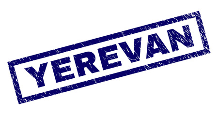 Rectangle YEREVAN seal print with corroded texture. Rubber seal imitation has rectangle frame. Blue vector rubber print of YEREVAN title with unclean texture. Stock Vector - 105896595