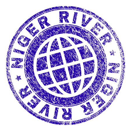 NIGER RIVER stamp imprint with grunge style. Blue vector rubber seal imprint of NIGER RIVER title with grunge texture. Seal has words placed by circle and globe symbol. Ilustração