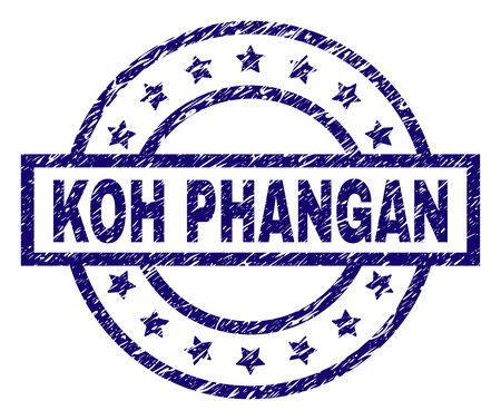 KOH PHANGAN seal print with dirty texture. Designed with rectangle, circles and stars. Blue vector rubber print of KOH PHANGAN text with retro texture.