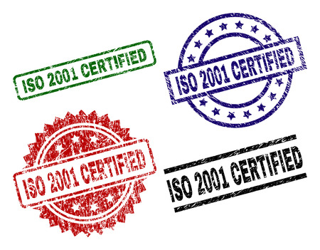 ISO 2001 CERTIFIED seal prints with corroded texture. Black, green,red,blue vector rubber prints of ISO 2001 CERTIFIED title with corroded texture. Rubber seals with circle, rectangle, medal shapes.