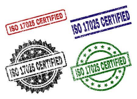 ISO 17025 CERTIFIED seal prints with corroded surface. Black, green,red,blue vector rubber prints of ISO 17025 CERTIFIED text with corroded texture. Rubber seals with circle, rectangle,