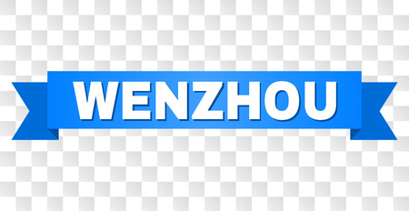 WENZHOU text on a ribbon. Designed with white caption and blue tape. Vector banner with WENZHOU tag on a transparent background.  イラスト・ベクター素材