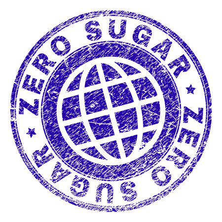 ZERO SUGAR stamp imprint with grunge style. Blue vector rubber seal imprint of ZERO SUGAR title with grunge texture. Seal has words arranged by circle and globe symbol. Ilustrace