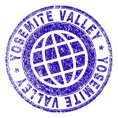 YOSEMITE VALLEY stamp imprint with distress texture. Blue vector rubber seal imprint of YOSEMITE VALLEY caption with grunge texture. Seal has words placed by circle and planet symbol. Ilustrace