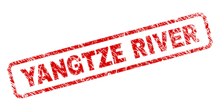 YANGTZE RIVER stamp seal imprint with distress style. Red vector rubber print of YANGTZE RIVER text with grunge texture. Text caption is placed inside rounded rectangle frame.