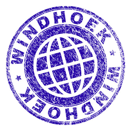 WINDHOEK stamp imprint with distress texture. Blue  rubber seal imprint of WINDHOEK caption with scratched texture. Seal has words placed by circle and planet symbol. Ilustrace