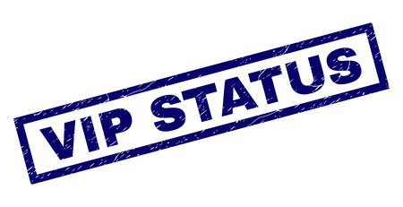 Rectangle VIP STATUS seal imprint with distress texture. Rubber seal imitation has rectangle frame. Blue vector rubber print of VIP STATUS title with grunge texture.