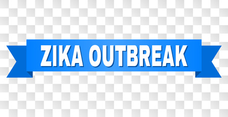 ZIKA OUTBREAK text on a ribbon. Designed with white caption and blue tape. Vector banner with ZIKA OUTBREAK tag on a transparent background. Ilustração