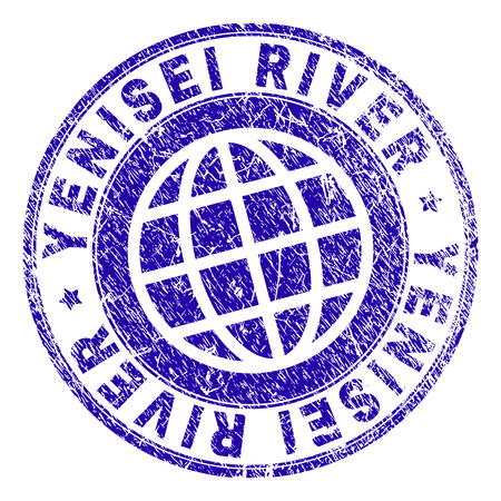 YENISEI RIVER stamp imprint with grunge texture. Blue vector rubber seal imprint of YENISEI RIVER caption with scratched texture. Seal has words placed by circle and globe symbol. Foto de archivo - 105255184