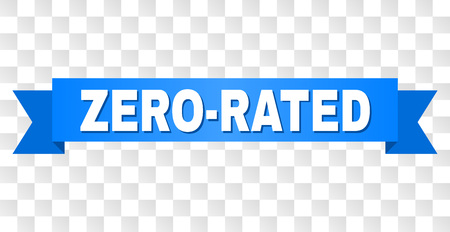 ZERO-RATED text on a ribbon. Designed with white caption and blue stripe. Vector banner with ZERO-RATED tag on a transparent background. Çizim