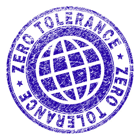 ZERO TOLERANCE stamp print with grunge texture. Blue vector rubber seal print of ZERO TOLERANCE tag with scratched texture. Seal has words placed by circle and planet symbol.