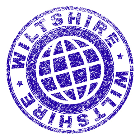 WILTSHIRE stamp print with distress texture. Blue vector rubber seal print of WILTSHIRE tag with retro texture. Seal has words arranged by circle and planet symbol.