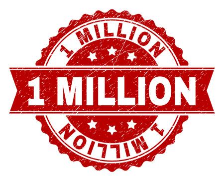 1 MILLION Siegelwasserzeichen mit korrodierter Textur. Die Nachahmung der Gummidichtung hat die Form eines Kreismedaillons und enthält ein Band. Roter Vektorgummidruck von 1 MILLION Bildunterschrift mit korrodierter Textur.