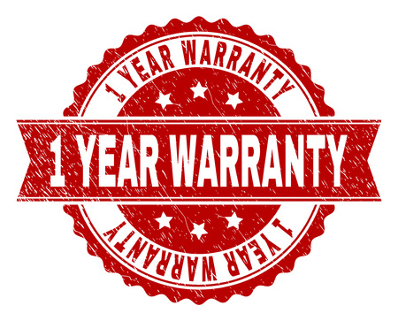 1 YEAR WARRANTY seal print with corroded texture. Rubber seal imitation has round medal form and contains ribbon. Red vector rubber print of 1 YEAR WARRANTY caption with unclean texture.