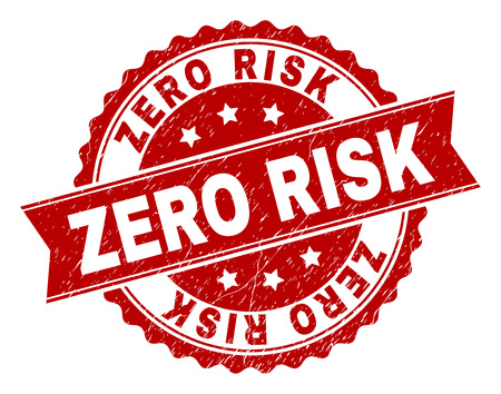 ZERO RISK seal print with distress texture. Rubber seal imitation has round medallion shape and contains ribbon. Red vector rubber print of ZERO RISK title with corroded texture.