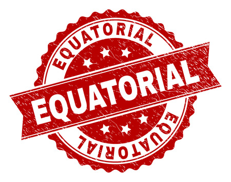 EQUATORIAL seal print with corroded texture. Rubber seal imitation has round medal form and contains ribbon. Red vector rubber print of EQUATORIAL caption with corroded texture. Ilustrace