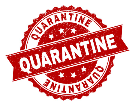 QUARANTINE seal print with distress texture. Rubber seal imitation has round medallion form and contains ribbon. Red vector rubber print of QUARANTINE label with retro texture.