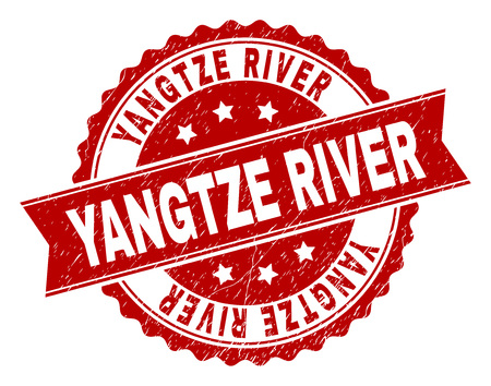 YANGTZE RIVER seal print with corroded texture. Rubber seal imitation has circle medallion form and contains ribbon. Red vector rubber print of YANGTZE RIVER tag with corroded texture. Illustration