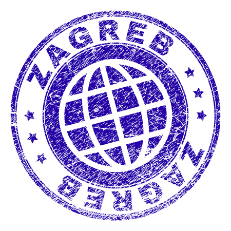 ZAGREB stamp imprint with grunge texture. Blue vector rubber seal imprint of ZAGREB label with grunge texture. Seal has words arranged by circle and globe symbol.