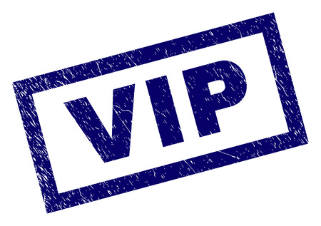 Rectangle VIP seal watermark with corroded style. Rubber seal imitation has rectangle frame. Blue vector rubber print of VIP tag with corroded texture.